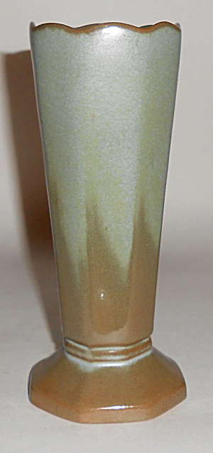 Frankoma Pottery Green Drip Fluted Vase Mint