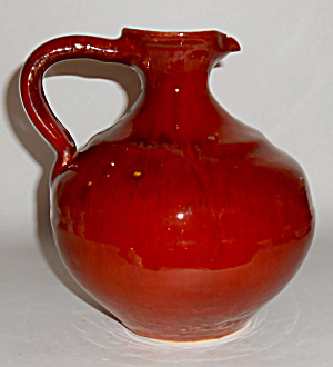 Early Lange Pottery Wheel Thrown Rust Carafe Rare