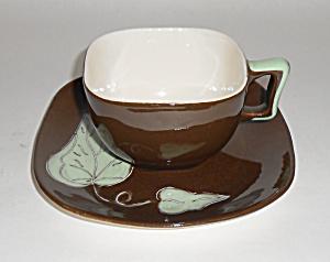 Santa Anita Ware Pottery  Del Mar Brown Cup/Saucer Set! (Image1)
