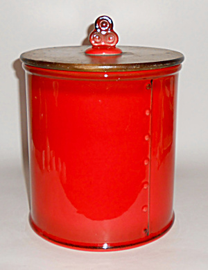 Metlox Pottery Poppy Trail Red Rooster Flour Canister