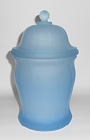 Indiana Glass Company Blue Satin Glass Covered Jar