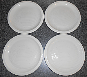 Franciscan Pottery Sculptures Set/4 White Conch Plates