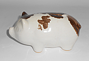 Brush Mccoy Pottery Early Brown Drip #080 Piggy Bank