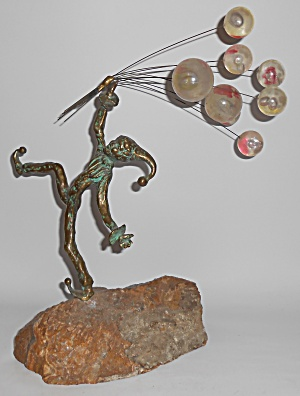 Bijan Art Metal Jester W/balloons Sculpture On Quartz