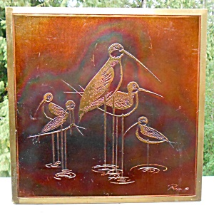Bijan Metal Acid Etched Shore Birds Wall Art Sculpture