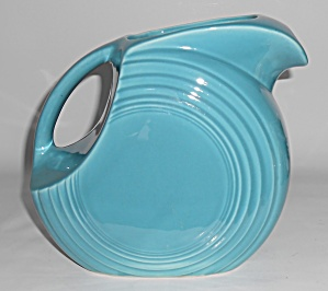 Vintage Fiesta Pottery Turquoise Water Pitcher