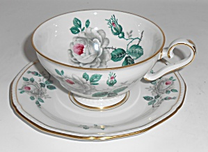 Royal Tettau Porcelain China White Rose Cup & Saucer