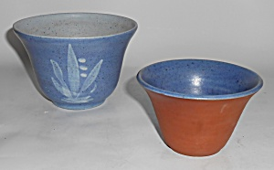 Orcas Island Studio Art Pottery Pair Flower Pots Mint