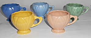 Camark Pottery Set/5 Floral Demi Cups Mint