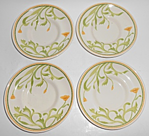Franciscan Pottery Greenhouse Poppy Set/4 Saucers Mint