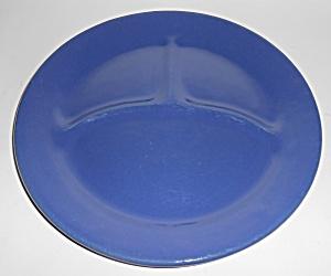 Bauer Pottery Plain Ware Cobalt Grill Plate! MINT (Image1)