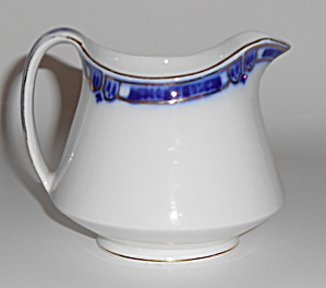 J & G Meakin China Flow Blue W/gold Creamer
