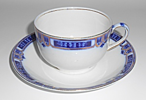 J & G Meakin China Flow Blue W/gold Cup/saucer Set