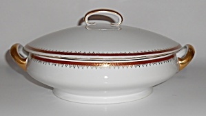 Richard Kampf Porcelain China Red W/gold Casserole