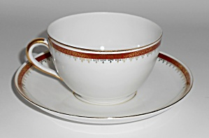 Richard Kampf Porcelain China Red W/gold Cup/saucer