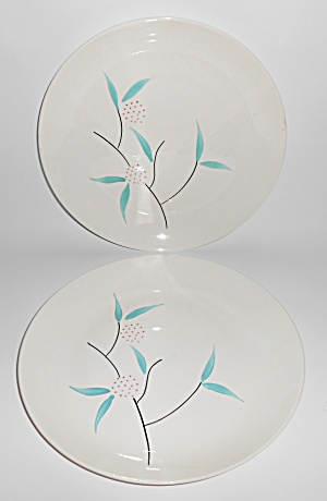 Blue Ridge Pottery Pair French Knot Dinner Plates Mint