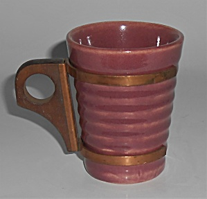 Bauer Pottery Ring Ware Burgundy 6 Oz Tumbler W/handle