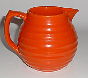Bauer Pottery Ring Ware Orange 1.5 Pint Pitcher Mint