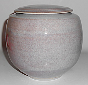 Early Bruning Studio Pottery Large Bulbous Covered Jar  (Image1)