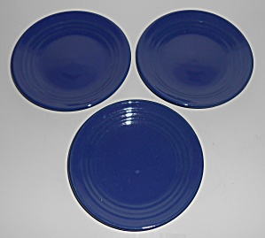 Bauer Pottery Ring Ware Set/3 Cobalt Bread Plates Mint (Image1)