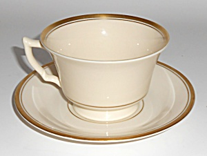 Syracuse China Monticello Gold Band Cup/saucer Mint