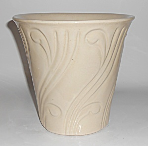 Pacific Pottery Early Art Deco 7-5/8 White Flower Pot