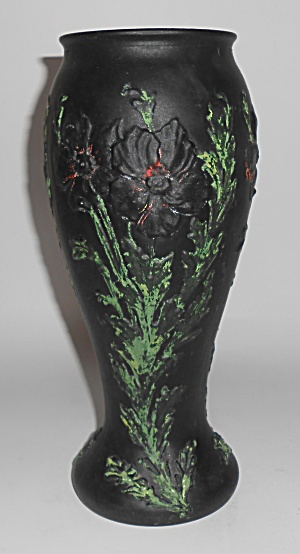 Tiffin Satin Glass Large Black Decorated Poppy Vase