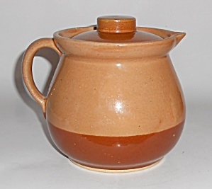 Watt Pottery Cabin Art Duotone Covered Pitcher