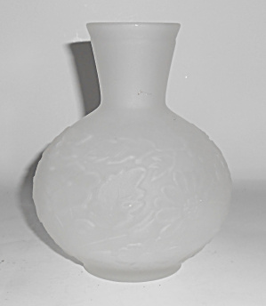 Tiffin Satin Glass Floral 6in Vase Mint