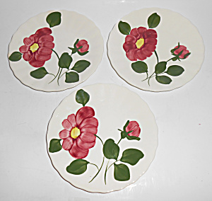 Blue Ridge Pottery Set/3 Red Nocturne Bread Plates Mint
