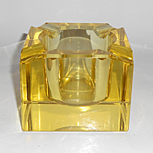 European Art Glass Yellow Block Ashtray