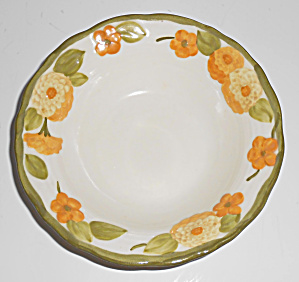 Metlox Pottery Poppy Trail Sculptured Zinnia Fruit Bowl (Image1)