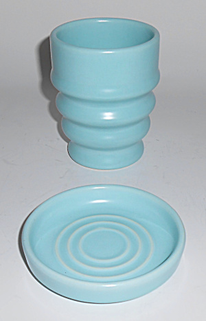 Metlox Pottery Series 200 #236-7 Oz Aqua Mug/coaster
