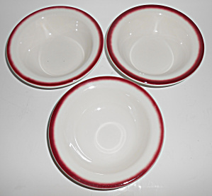 Buffalo Restaurant China Set/3 Red Airbrushed Cereals