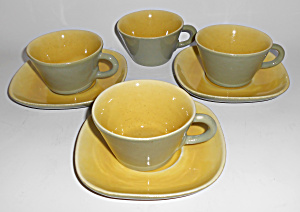 Winfield China Pottery Early Green/chartreuse 4 Cups/3