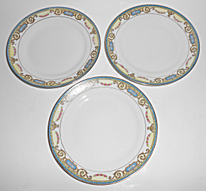 Noritake China Eagle W/floral Garland Set/3 Bread Plts