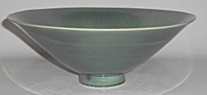 William Manker Pottery Green/yellow Large Drip Art Bowl