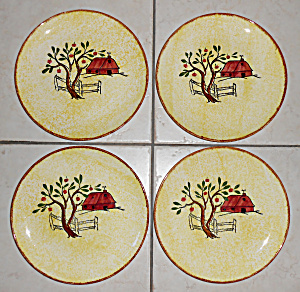 Blue Ridge Pottery Red Barn Set/4 Luncheon Plates