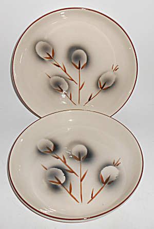 Winfield China Pottery Pussy Willow Pair Salad Plates