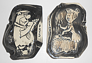 Hanna-barbera Flintstones Pair Fred & Wilma Ashtrays