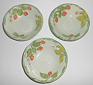 Franciscan Pottery Strawberry Time Set/3 Cereal Bowls
