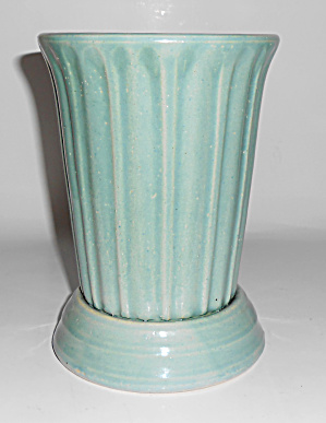Garden City Pottery Jade Footed Ribbed Art Vase!  MINT (Image1)
