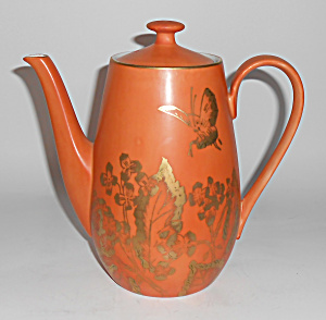 Dorothy Thorpe Porcelain Persimmon Butterfly Coffeepot