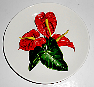 Santa Anita Ware Pottery Red Anthurium Bread Plate Mint