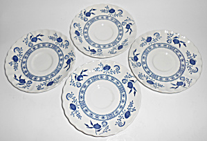 J & G Meakin China Blue Nordic Set/4 Saucers Mint