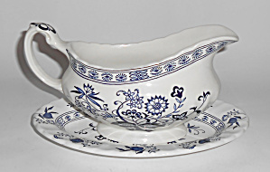 J & G Meakin China Blue Nordic Gravy/underplate Set