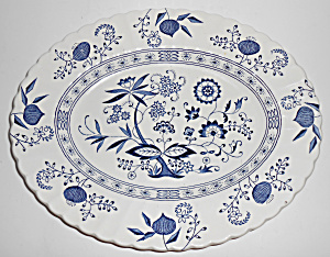 J & G Meakin China Blue Nordic 13-3/8in Platter Mint