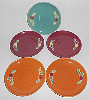 Coors Pottery Rosebud Set/5 Saucers