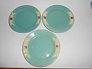 "Coors Pottery Rosebud Set/3 Green 7"" Plates"