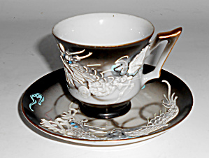 Vintage Japan Moriage China Dragon Ware Demi Cup/saucer